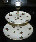 2 Tier Lefton China Tidbit Christmas Holiday Holly Dish Plate Party Dessert