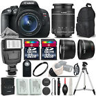 Canon EOS Rebel T5i SLR Camera 700D + 18 55mm IS 3 Lens Kit + Flash+ 64GB