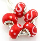 5pcs Murano Lampwork Glass Beads Silver For European Charm Bracelet G3