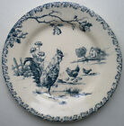 Old French Art Nouveau Majolica Plate signed GIEN: Rooster and Hen.