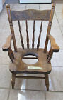 Antique Childrens Wooden Potty Chair Early 1900s Solid Training Seat 25-3/4