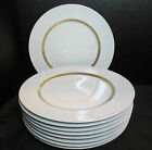 Sango Express Set of 9 Dinner Plates Gold Interior Band with Oval Circles