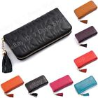 Real Genuine Leather Women Long Zip Wallet Phone Card Holder Case Purse Clutch