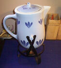 RED WING DELTA BLUE POTTERY BEVERAGE SERVER & METAL STAND RARE NO DAMAGE