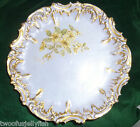 LIMOGES FRANCE  PLATE DECORATIVE HAND PAINTED GOLD RIM LILAC  YELLOW FLOWERS