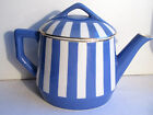 French blue and white ceramic small Teapot signed Sarreguemines model Fox Trott