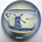 French Majolica Cup and saucer, Holland decor blue and white, signed Badonviller