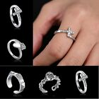 New Silver Skull Heart Adjustable Independent Little Finger Ring Jewelry Size 15
