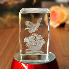 3D Laser Etched Crystal Glass Paperweight Butterfly Flower LED Stand Gift