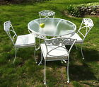 4 Chairs Normandy Rose Pattern O.W. Lee Wrought Iron 1950