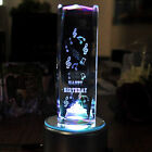 3D Laser Etched Crystal Birthday Cake Gift Paperweight Ornament with LED Stand