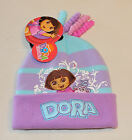 Dora The Explorer & Boots Girls Purple Blue Embroidered Beanie Size 4 - 6 New