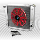 TRI CORE 3 ROW COOLING RADIATOR+14 RED FAN 66 77 FORD BRONCO WAGON ROADSTER