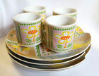 Shafford Snack Set Lunch Plates Cups Little Farm Retro Patchwork Country 4 Sets