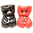 2 PAIRS 16 OZ BOXING PRACTICE TRAINING GLOVES w HEAD GEAR PROTECTION RED BLACK