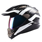 Dual Sport Helmet Motorcycle Full Face Motocross MX ATV Dirt Bike Black White