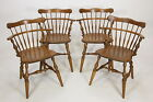 Four (4) Ethan Allen Comb Back Mate's Chairs 10-6040 Nutmeg Finish Maple