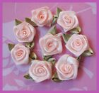 100 Satin Ribbon Rose w Leaf Appliques Victorian Doll Peach