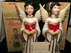 Vintage Lighted Plastic Carolers Choir Girl and Boy Angels in Box by Empire