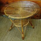 Vintage Mid Century Modern Danish Geometric Spiral Rattan / Bent Wood Table