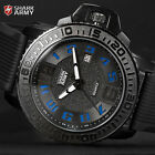 SHARK ARMY Blue Date Quartz Analog Silicone Band Mens Military Sport Watch