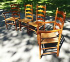 Set 4 Vintage Maple Ladder Back Chairs Queen Anne Style Rush Seats 2 Arms 2 Side