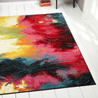 Rugs Swirls Contemporary Modern Area Rug Multi Color Abstract Paint Carpet