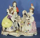 Vintage Dresden Germany Lace Music Musical Trio Porcelain Figurine Harp Piano