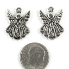 Metal Holiday Charms SILVER TWO SIDED CHRISTMAS ANGEL 16x22mm 10 Pieces