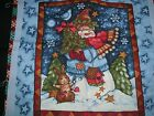 BLANK SANTRY SNOWMAN CHRISTMAS PILLOW PANEL SQUARE BLOCK QUILT CHEATER FABRIC