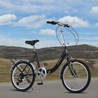 Folding 20 City Bike Compact 7 Speed Bicycle Unisex Adult Ride Commuter Black