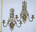 Antique Victorian Brass Lady Face Sconce Candle Holders Wall Candelabra