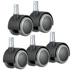 5x Office Chair Caster Wheel Swivel Rubber Wood Floor Home Furniture Replacement