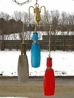 Vintage Red Blue Tan Cased Shade Art Glass Hanging Swag Lamp Light LV ITALY