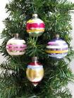 LOT OF FOUR VINTAGE, TRADITIONAL GLASS TREE ORNAMENTS