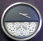 CONTEMPORARY METAL WALL CLOCK 14 DIAMETER BLACK WITH 12 MOVING GEARS 42830