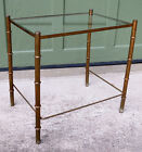 Faux Bamboo Metal End Table Glass Hollywood Regency Mid Century Modern