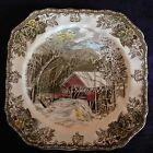THE FRIENDLY VILLAGE BY JOHNSON BROTHERS THE COVERED BRIDGE SQUARE SALAD PLATE