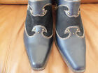 Womens Navy Western Mules-size 9