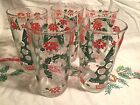 5 Vintage Merry Christmas Happy New Years Glasses Continental Can Hazelware