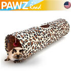 Pet Cats Tunnel Collapsible Leopard Crinkle 2 Holes Cat Kitten Play Toy Tunnels