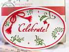 Fitz and Floyd Winter White Holiday Sentiment Tray Celebrate Cheese Cookie Plate
