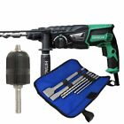 Hitachi DH26 PX 110V SDS+ Rotary Hammer Drill 3-Mode with Chuck, 4 SDS Drill Bit