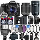 Canon EOS 80D DSLR Camera + 18 55mm IS STM + 55 250mm STM Lens 64GB Kit Bundle