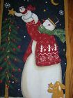 SNOWMAN MOON STAR W ANGEL SNOWMAN PANEL QUILT SQUARE BLOCK CHEATER FABRIC