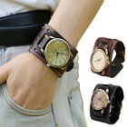 Men's Retro Style Punk Rock Brown Big Wide Leather Bracelet Cuff Watch Cool Gift