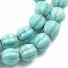 Blue Green Round Pumpkin Stone Beads Candy Turquoise Gemstone 12mm 33 Pieces