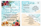 Beach Seashell Wedding Invitations with RSVP and Accommodation Cards Set of 50