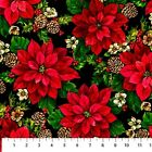 Northcott Home for the Holidays 21081 99 Black Poinsettias BTY COTTON