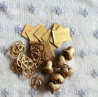 Large Lot Vintage Brass Stampings Unused Old Stock Puffy Heart Charms I Love You
